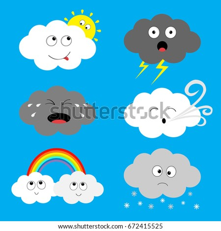 Cloud emoji icon set. Sun, rainbow, rain drop, wind, thunderbolt storm lightning. White gray color. Fluffy clouds. Cute cartoon cloudscape. Different emotion. Flat design. Blues sky background Vector