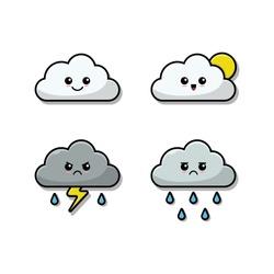Cloud emoji vector Illustration set. Flat Illustration of cloud emoji vector for sticker and graphic design