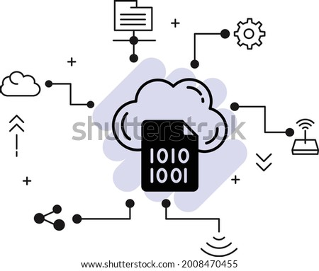 Cloud encryption decryption Concept, Encoding or transforming data before storage vector icon design, Cloud computing and Web hosting services Symbol, Binary File Sign stock illustrationi Foto stock ©