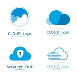 CLOUD  FAST SHIELD SECURITY LOGO ICON TEMPLATE SET
