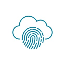 Cloud fingerprint line icon. Privacy issues on the internet. Biometric technology. Digital identity. Data protection on cloud computing platforms. Network access security. Vector illustration, flat.