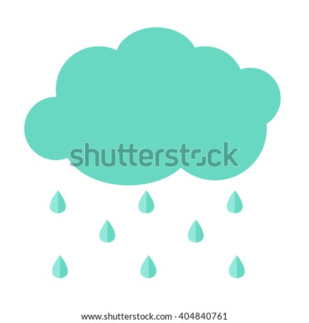 cloud flat icon with rain drops