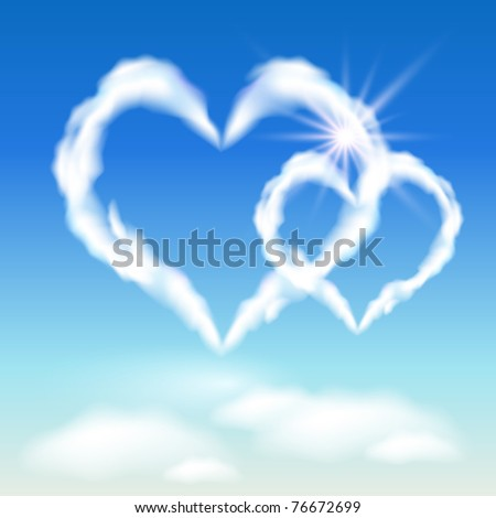 Cloud hearts  in  the sky, and sunlight