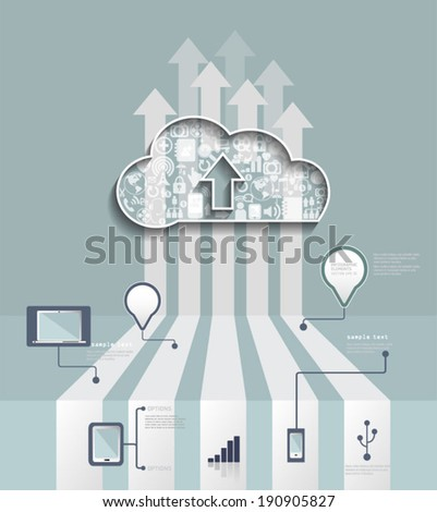 Cloud Hosting.Cloud Computing concept with Icon,social network group,infographic background