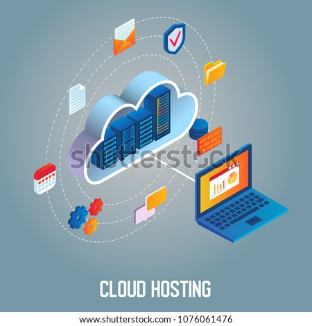 Cloud hosting flowchart vector isometric illustration. Data center with hosting server racks in cloud connected with laptop.