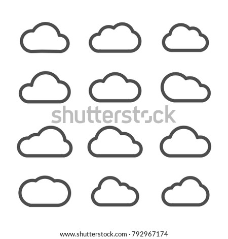 Cloud icon flat line stock vector
