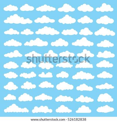 Cloud icon set,clean vector