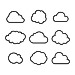 Cloud Icon Set. Vector