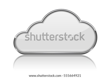 Cloud icon. Shiny 3d white icon with chrome frame. Vector illustration isolated on white background.