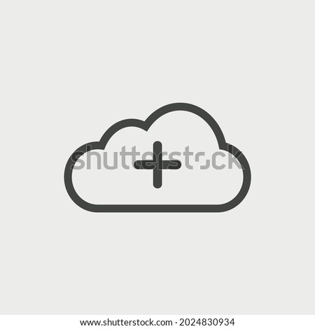 cloud icon vector. cloud computing symbol vector illustration for web and mobile app on grey background. Plus icon