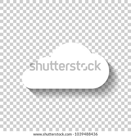 cloud icon. White icon with shadow on transparent background #1039488436