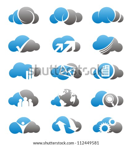 Cloud icons set. Cloud computing symbols, signs and icons.
