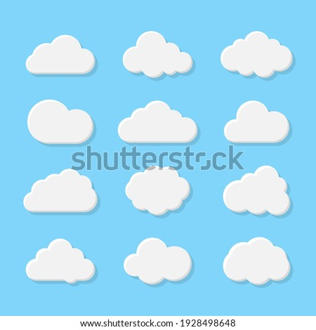 Cloud icons set in trendy flat style isolated on blue background. Cloud web icons set. Simple vector symbols collection