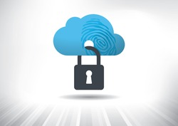 Cloud Identity Security Concept. Cloud icon with fingerprint locked with padlock. Layered file for easy customization. Fully scalable vector illustration.