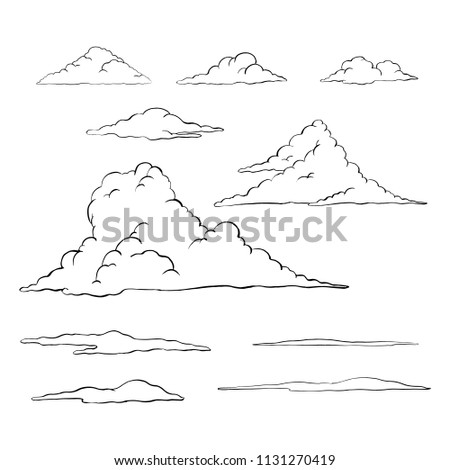 Cloud Illustrations Hand drawn illustrations of clouds, black outline, white fill, isolated on white background.