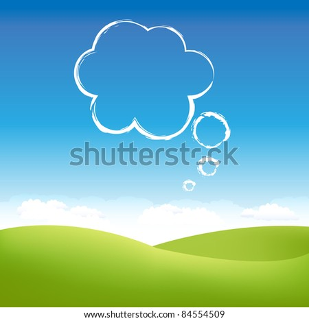Cloud In Air Over Grass Field, Vector Illustration - stock vector