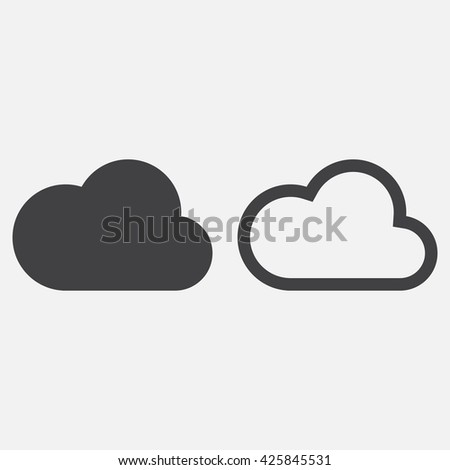 cloud line icon, outline and solid vector logo, linear pictogram isolated on white, pixel perfect illustration