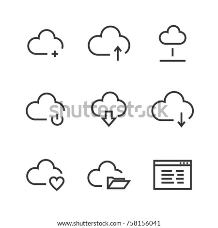 Cloud line icons. Thin line icons for cloud computing