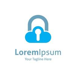 Cloud lock down keyhole vector logo icon