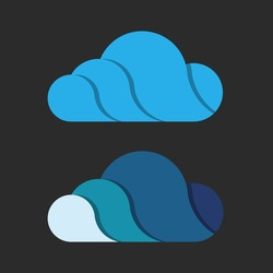 Cloud logo design with shade. Storage services icon. Repository badge. Two color scheme. Volume logo, 3D.