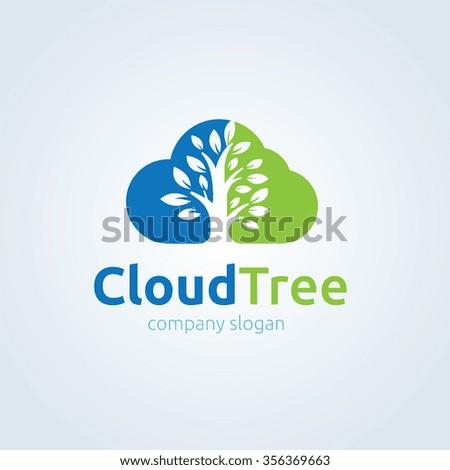cloud logo tree logo vector