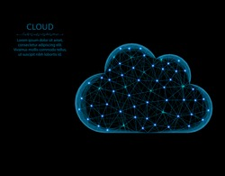 Cloud low poly design, weather abstract geometric image, cloud computing wireframe mesh polygonal vector illustration made from points and lines on black background