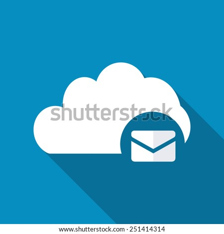Cloud Mail Icon in flat style with long shadow