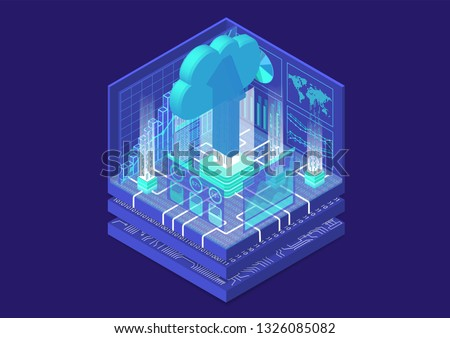 Cloud migration concept with symbol of floating cloud and upload arrow as isometric 3d vector illustration.  Stock photo ©