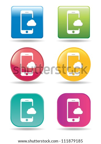 Cloud mobile phone icons