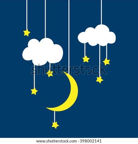 cloud moon stars on a thread