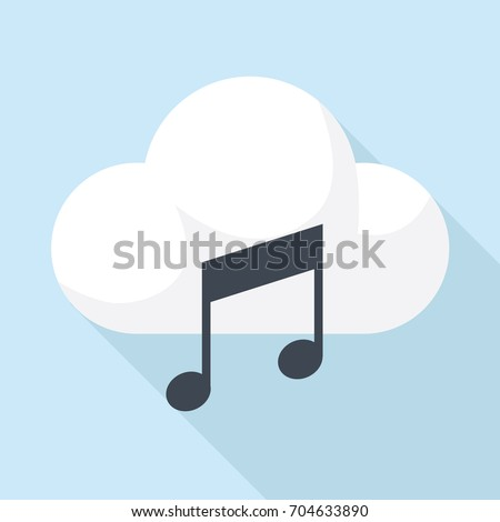 Cloud music icon in flat design