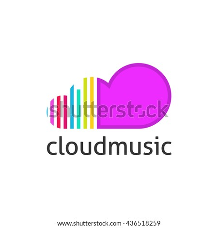 Cloud music vector logo isolated on white background, violet cloud shape symbol with sound equalizer colorful lines