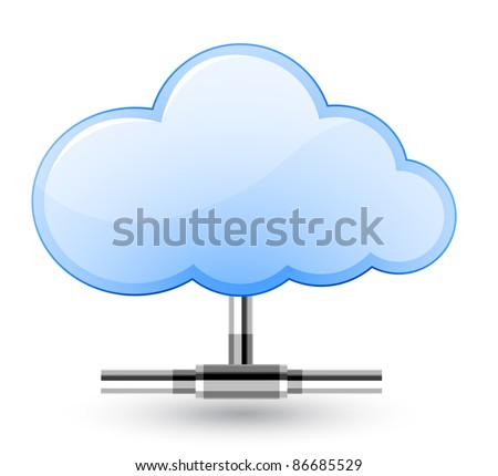 Cloud network connection. Vector Illustration