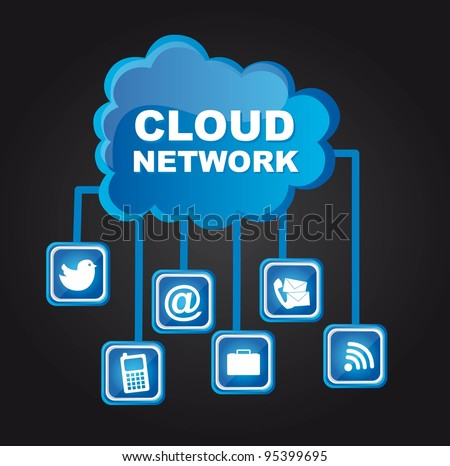 Cloud network with communications icons, black background