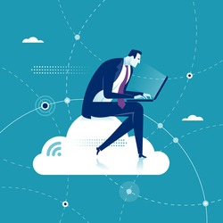 Cloud Networking. Businessman sits on a cloud with laptop on his knees. Concept vector illustration.