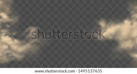 Cloud of brown, heavy thick dust bursting with from two sides, frozen motion 3d realistic vector background. City smog, polluted and dirty air with dust or dirt particles, soil erosion illustration