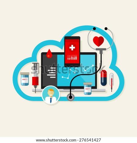 cloud online health medication medical care service internet