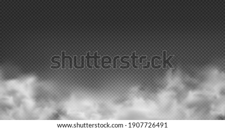 Cloud or smoke isolated transparent special effect. White vector cloudiness, mist or smog background. Vector illustration