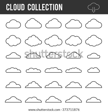 Cloud outline collection. Vector icon line set template for web design and app