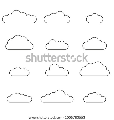 Cloud outline set. Cloud line icon collection isolated on white background. Vector illustration.