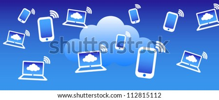 Cloud Phone Computing Background - Phone computers communicating with the cloud concept