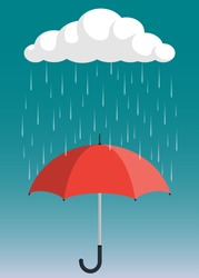 Cloud, rain and opened umbrella in the rain. Flat style vector illustration