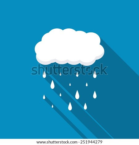 cloud rain blue icon with long