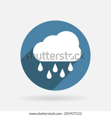 cloud rain circle blue icon