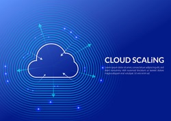 Cloud Scaling Solution. Cloud computing technology is easy handles growing and decreasing demand in usage. This illustration shows a cloud and arrows to maximize or minimize Cloud sizing (Infra).