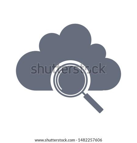 Cloud search icon vector. Search icon. Magnifying glass or search icon. Search icon vector.