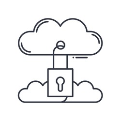 Cloud security icon, linear isolated illustration, thin line vector, web design sign, outline concept symbol with editable stroke on white background.