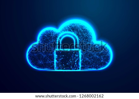 Cloud security icon, Upload and Download protection. Abstract wire low poly, Polygonal wire frame mesh. Background Illustration