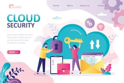 Cloud security, landing page template. Security service protects cloud data storage. Female character holds big key. Data protection. Secure database. Save important information. Vector illustration
