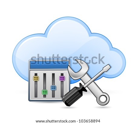 Cloud server optimization and configuration concept. Screwdriver and spanner tools and cloud. Vector illustration